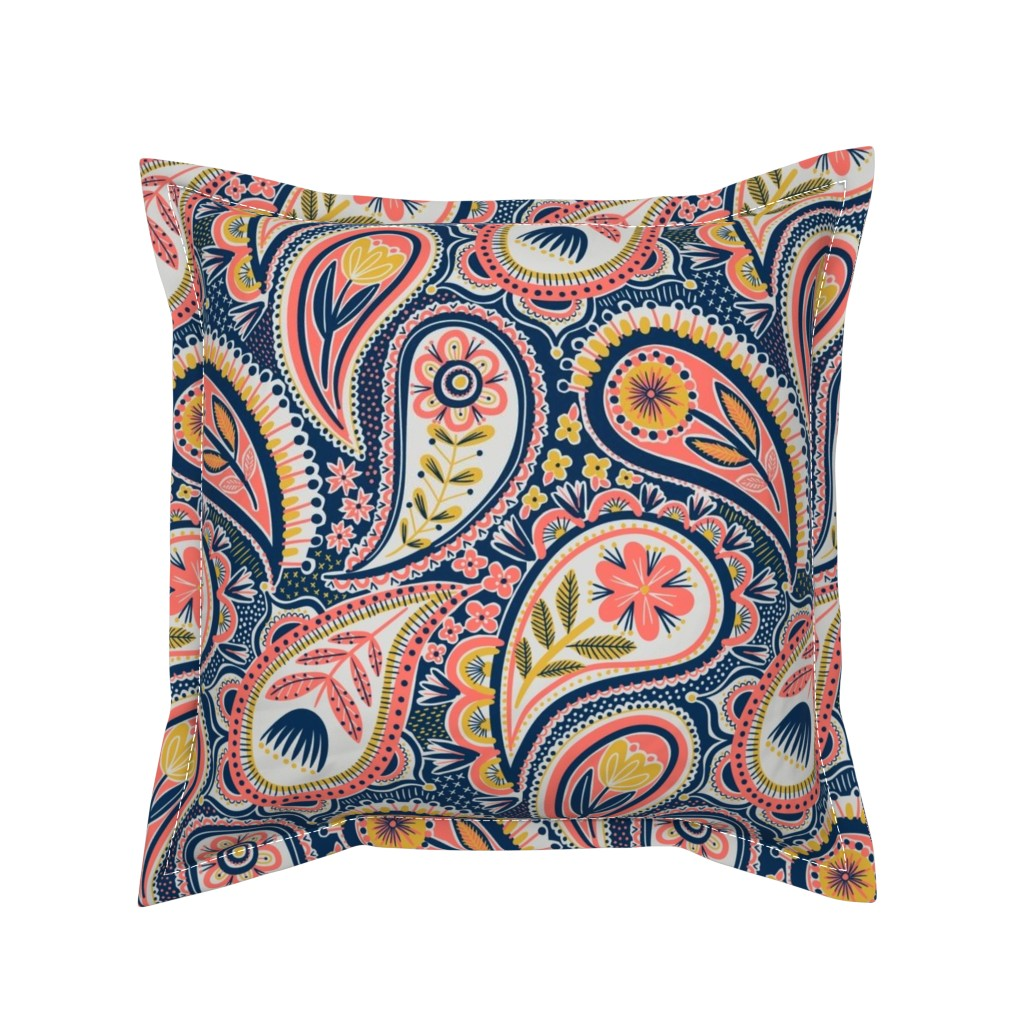 Serama Throw Pillow featuring limited colour paisley by laura_may_designs