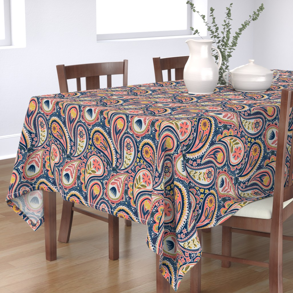 Bantam Rectangular Tablecloth featuring limited colour paisley by laura_may_designs