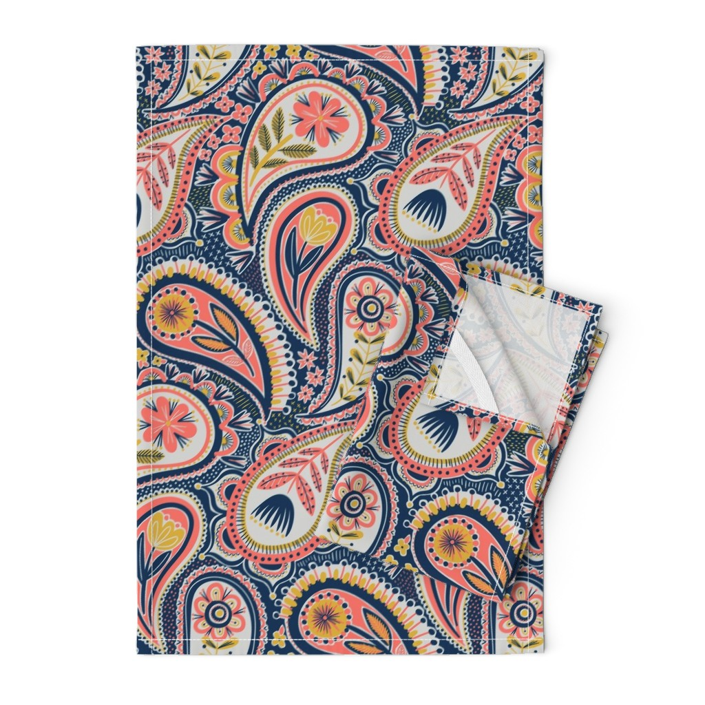 Orpington Tea Towels featuring limited colour paisley by laura_may_designs