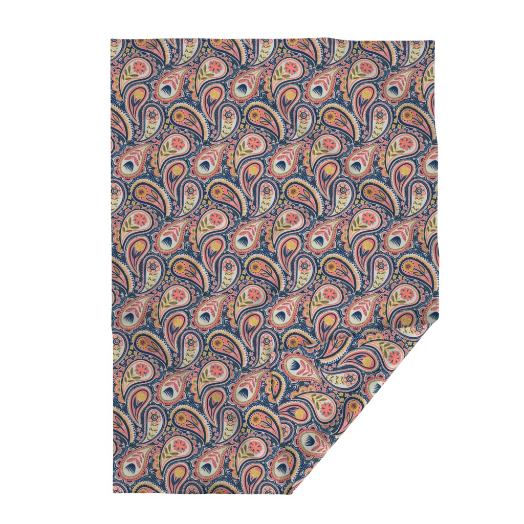 Lakenvelder Throw Blanket featuring limited colour paisley by laura_may_designs