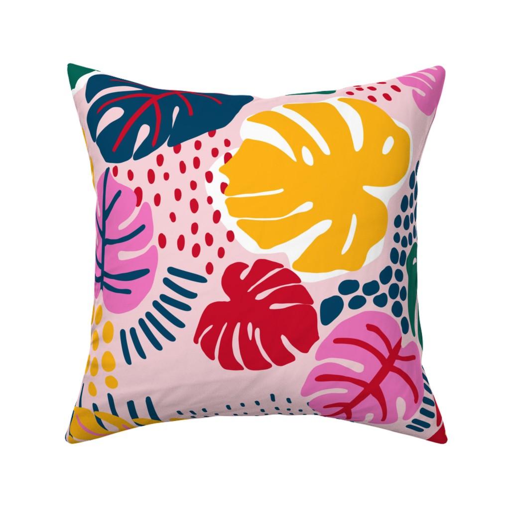 Catalan Throw Pillow featuring Bohemian Paradise Monstera - Pink by louisemargaret