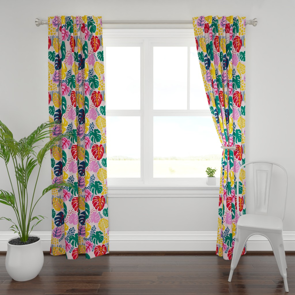 Plymouth Curtain Panel featuring Bohemian Paradise Monstera - Pink by louisemargaret