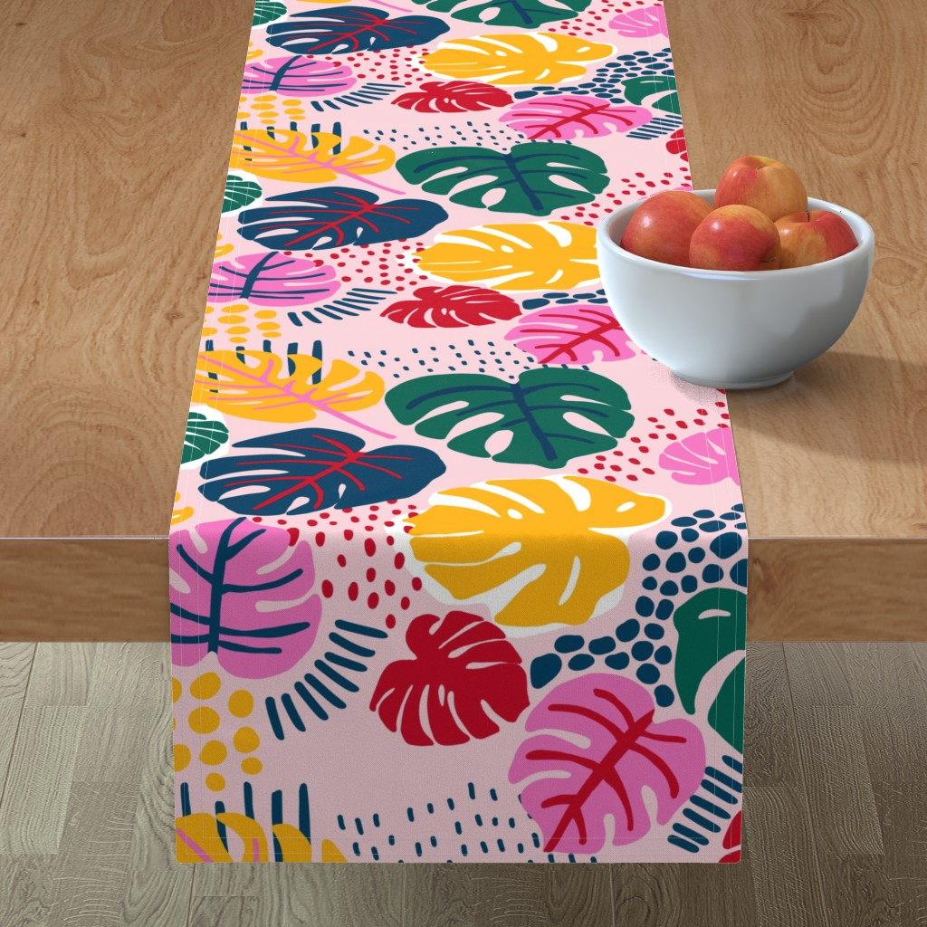 Minorca Table Runner featuring Bohemian Paradise Monstera - Pink by louisemargaret