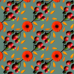 Summer Berry and Gerbera Floral Pattern on Green