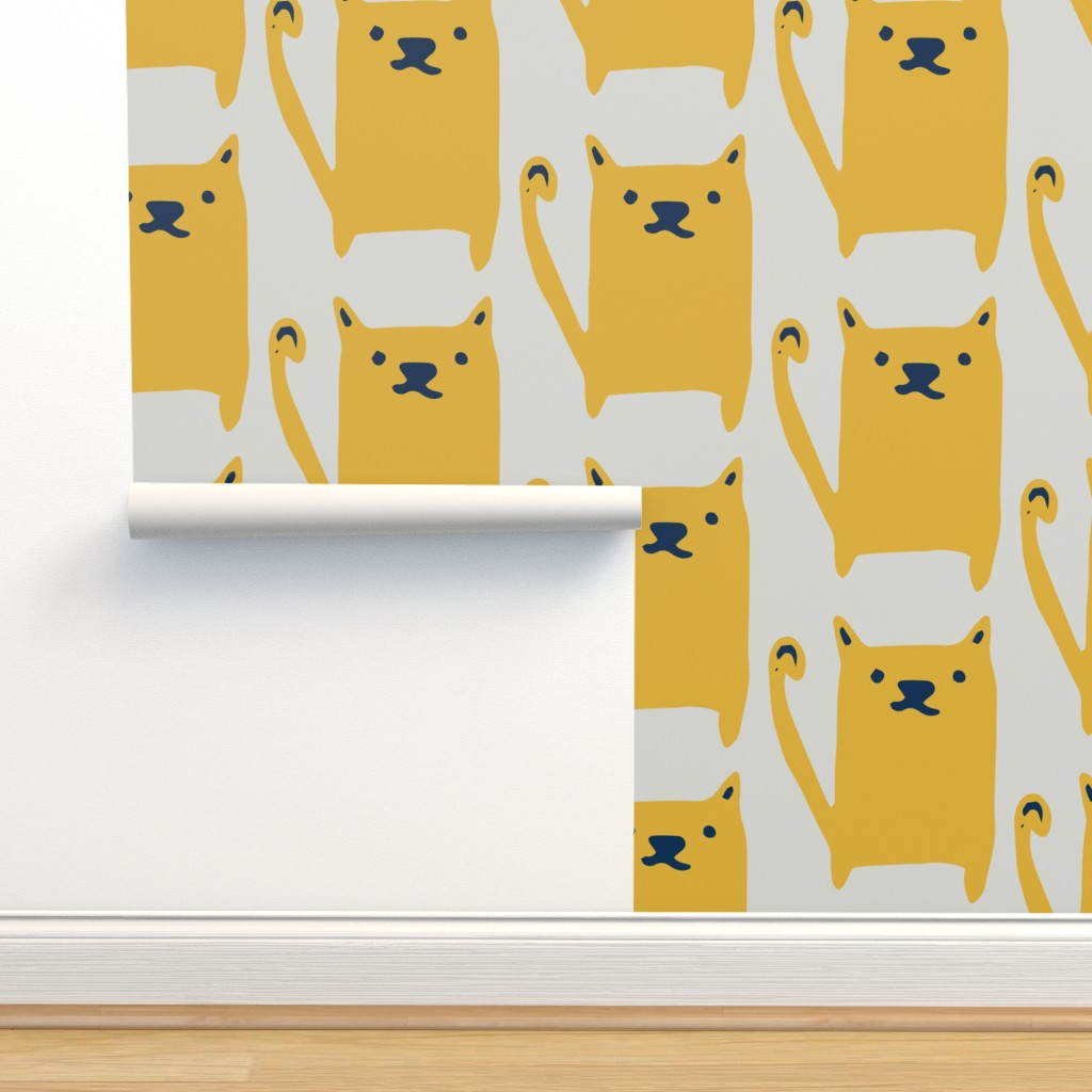 Isobar Durable Wallpaper featuring Cute Cat Yellow by bruxamagica