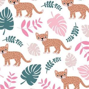 Sweet little wild cat tiger jungle botanical monstera palm leaves summer girls