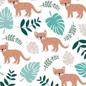 Sweet little wild cat tiger jungle botanical monstera palm leaves summer boys