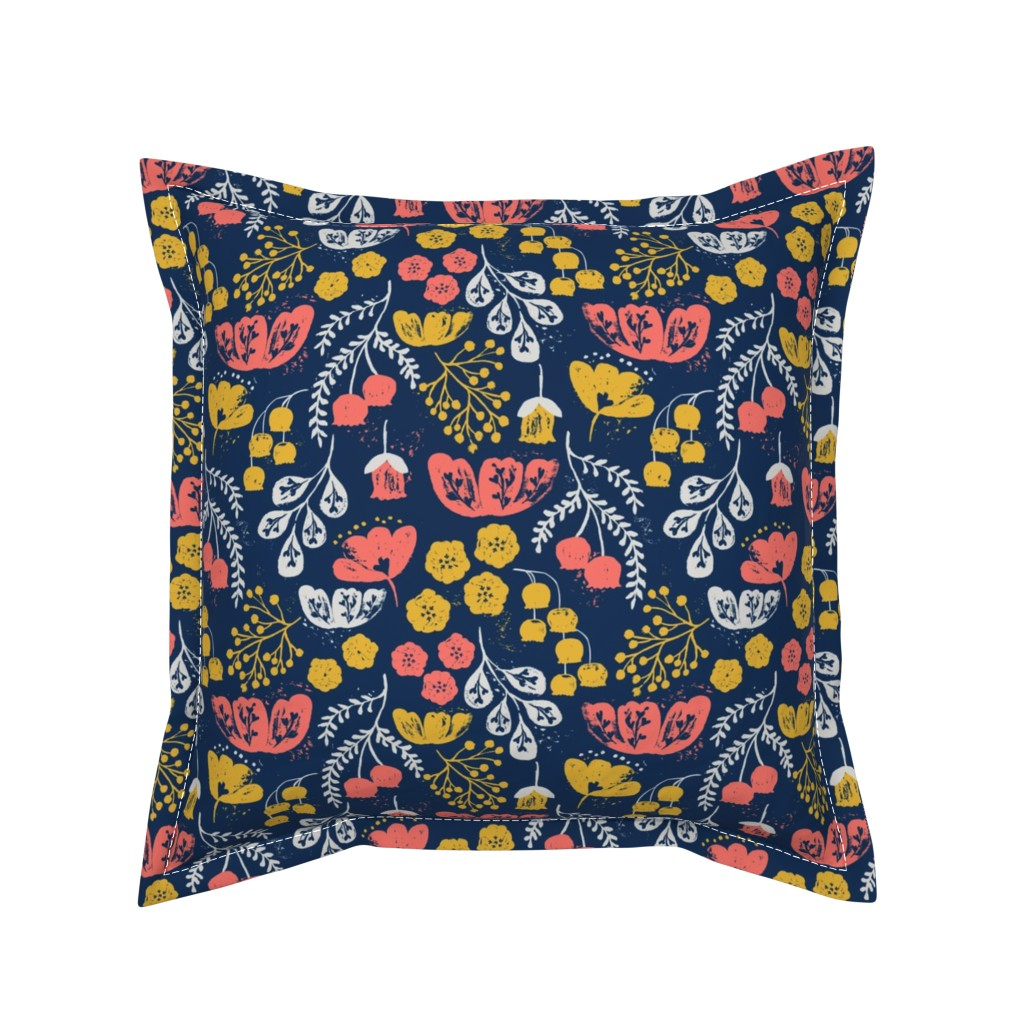 Serama Throw Pillow featuring Daydream Garden {Coral/Navy} by ceciliamok