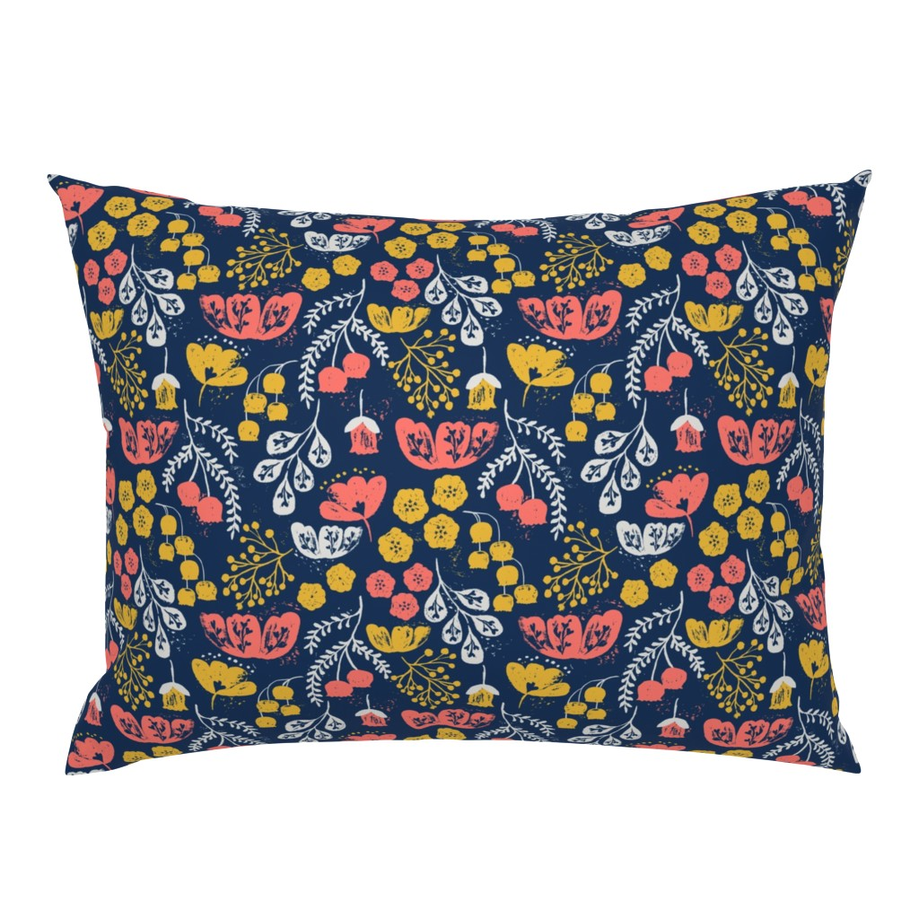 Campine Pillow Sham featuring Daydream Garden {Coral/Navy} by ceciliamok