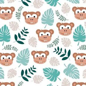 Cute little monkey jungle monstera palm leaves summer print boys