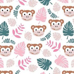 Cute little monkey jungle monstera palm leaves summer print girls pink