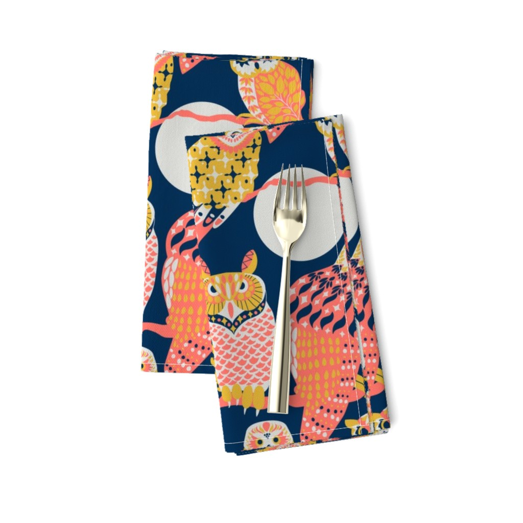 Amarela Dinner Napkins featuring Owling at the Moon by kittenmoonstudio