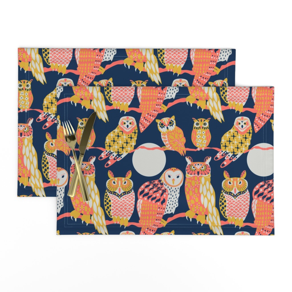 Lamona Cloth Placemats featuring Owling at the Moon by kittenmoonstudio