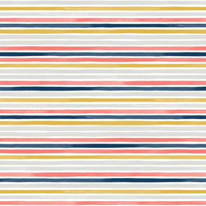 Watercolor Small Horizontal Stripes Living Coral + by Friztin