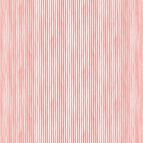 Watercolor Extra Small Vertical Stripes Living White Happy Coral by Friztin