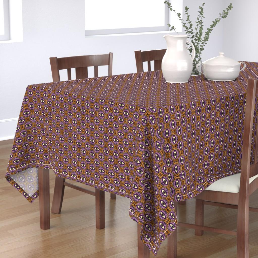 Bantam Rectangular Tablecloth featuring Circular Evil Eye Pattern in Orange and Purple by tamara_lance