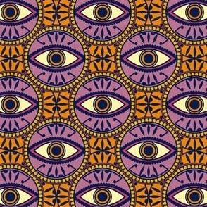 Circular Evil Eye Pattern in Orange and Purple