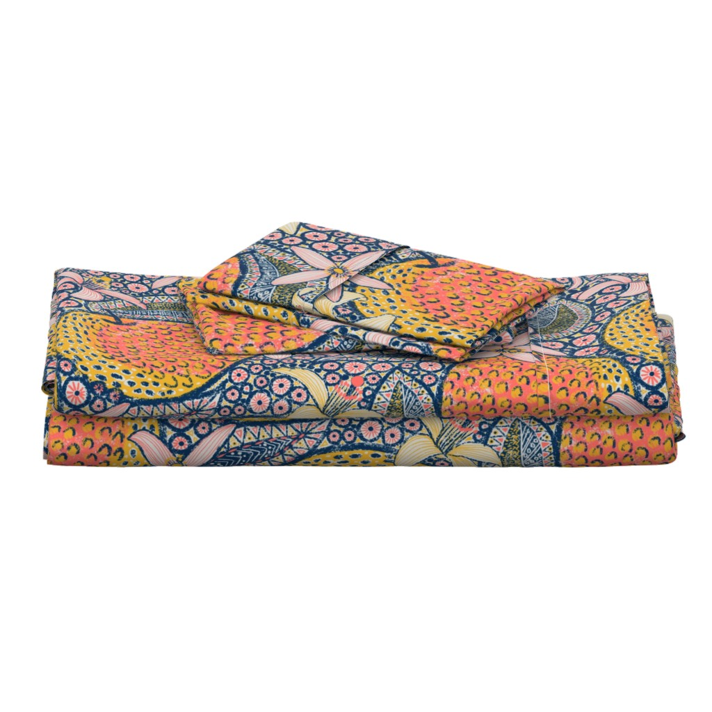 """Langshan Full Bed Set featuring African Oranges 24"""" by helenpdesigns"""
