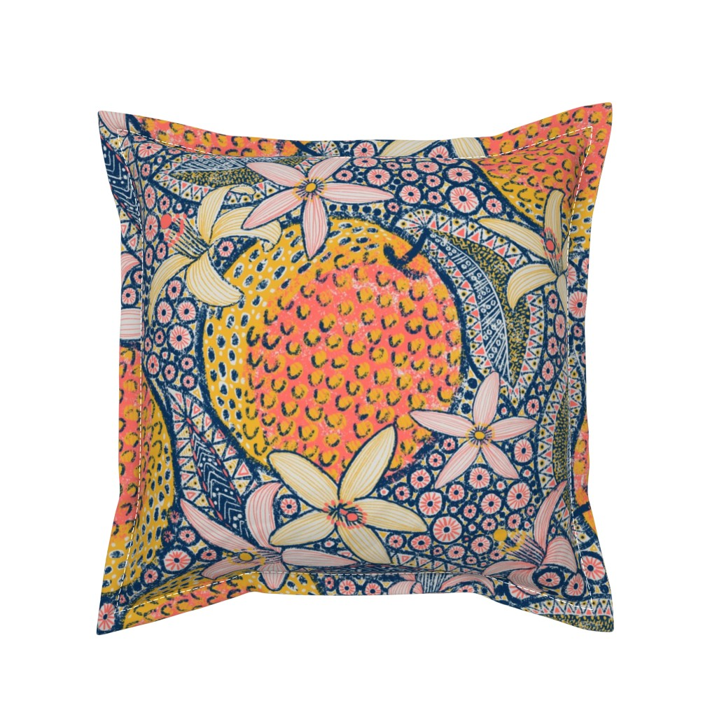 """Serama Throw Pillow featuring African Oranges 24"""" by helenpdesigns"""