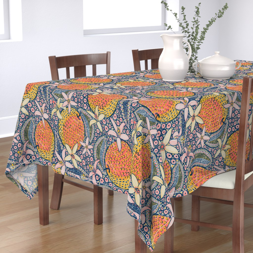 """Bantam Rectangular Tablecloth featuring African Oranges 24"""" by helenpdesigns"""