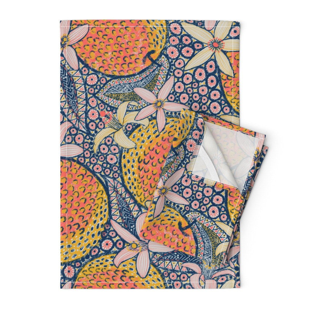 """Orpington Tea Towels featuring African Oranges 24"""" by helenpdesigns"""