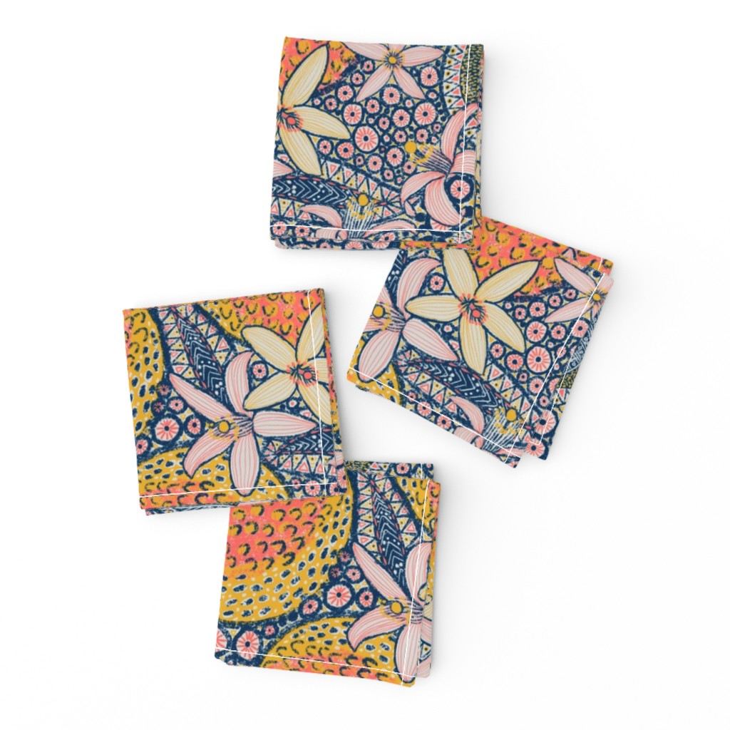 """Frizzle Cocktail Napkins featuring African Oranges 14"""" by helenpdesigns"""