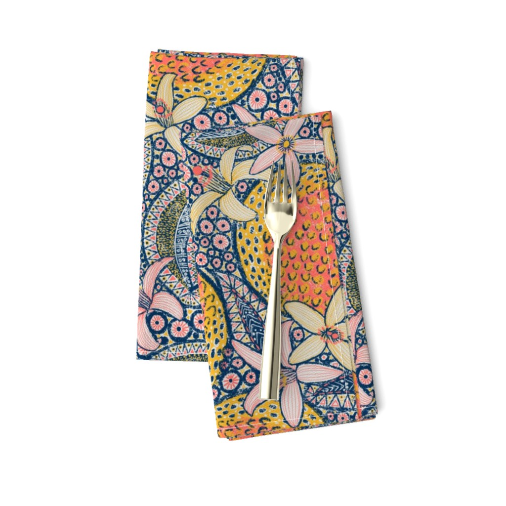 """Amarela Dinner Napkins featuring African Oranges 14"""" by helenpdesigns"""