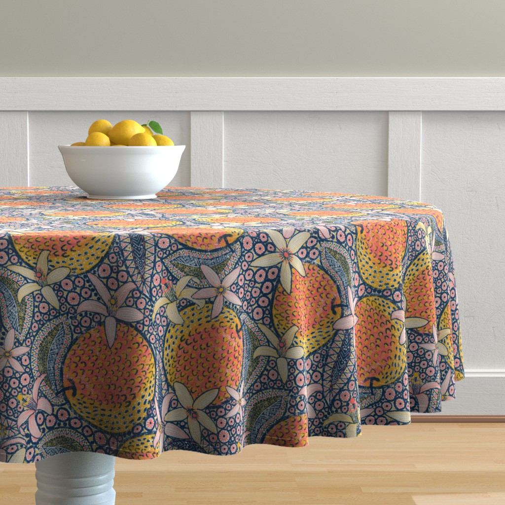 """Malay Round Tablecloth featuring African Oranges 14"""" by helenpdesigns"""