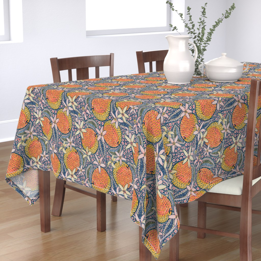 """Bantam Rectangular Tablecloth featuring African Oranges 14"""" by helenpdesigns"""