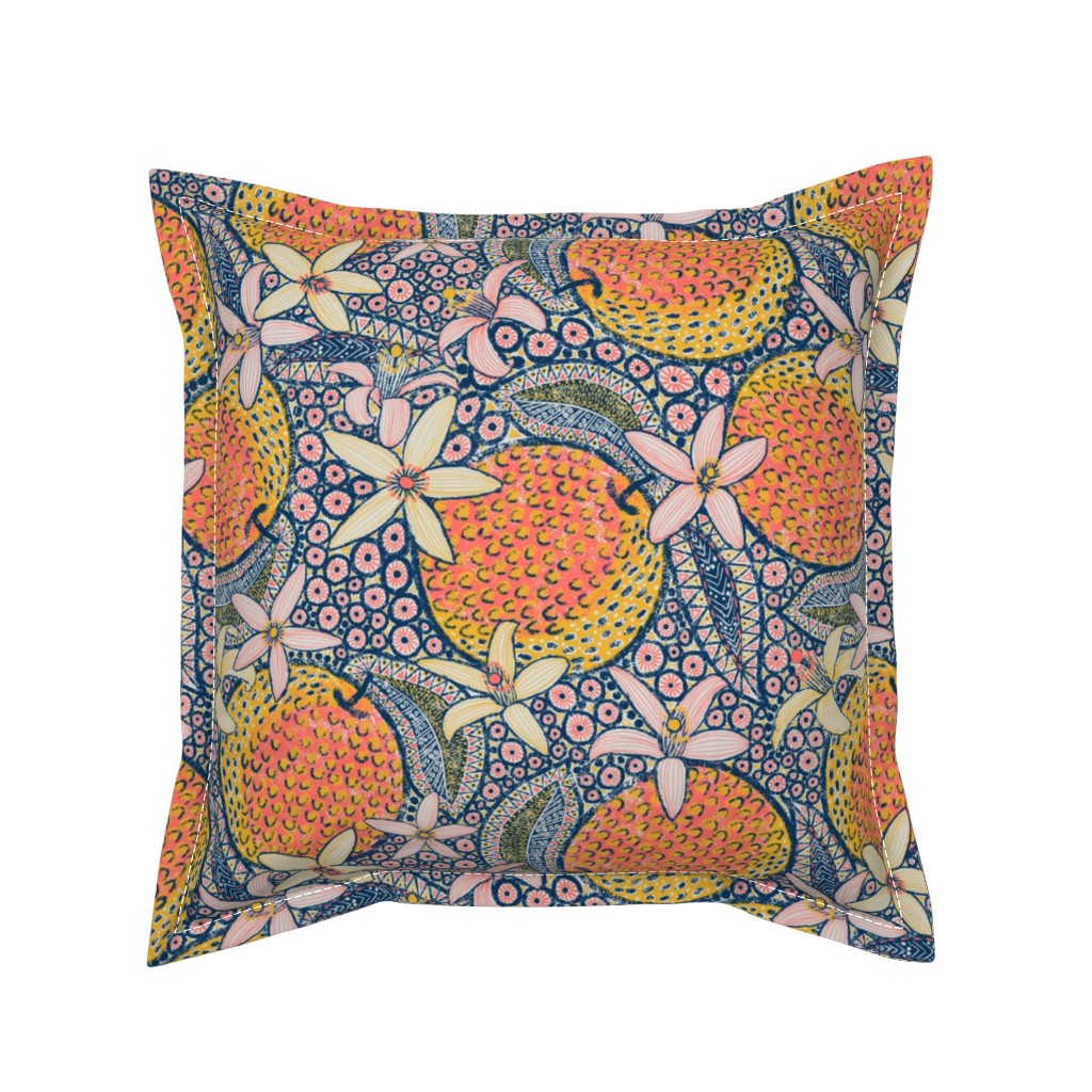 "Serama Throw Pillow featuring African Oranges 14"" by helenpdesigns"