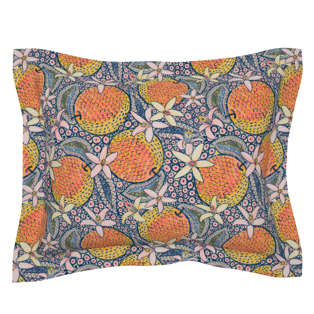"""Sebright Pillow Sham featuring African Oranges 14"""" by helenpdesigns"""