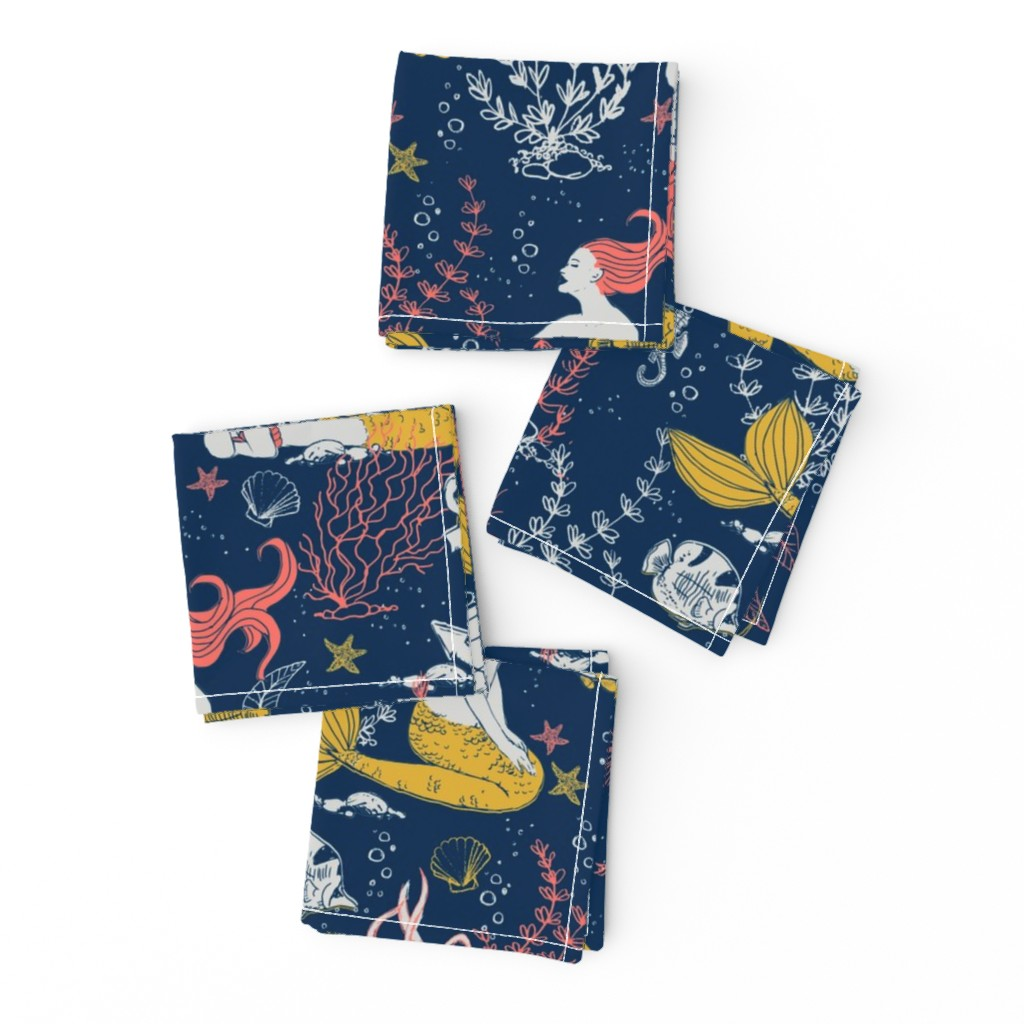 Frizzle Cocktail Napkins featuring Mermaids-limited color palette by whimsical_brush