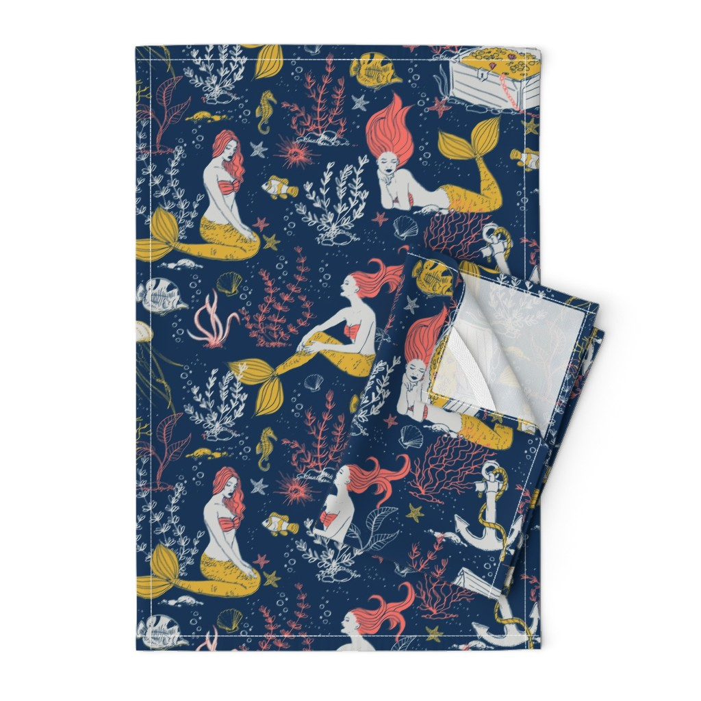Orpington Tea Towels featuring Mermaids-limited color palette by whimsical_brush