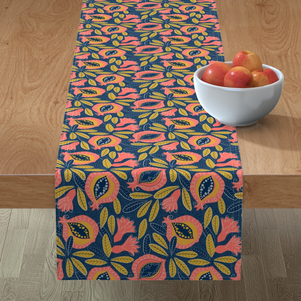 Minorca Table Runner featuring Pomegranate by lily_studio