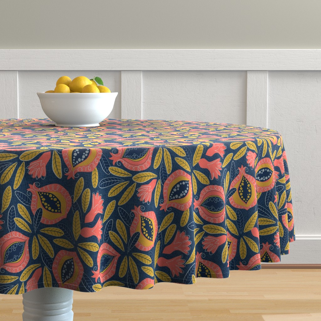 Malay Round Tablecloth featuring Pomegranate by lily_studio