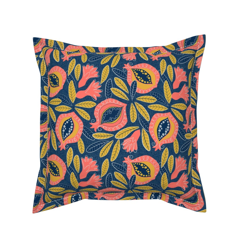 Serama Throw Pillow featuring Pomegranate by lily_studio