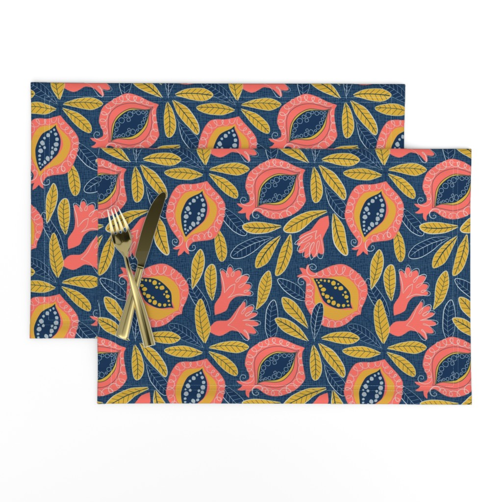 Lamona Cloth Placemats featuring Pomegranate by lily_studio