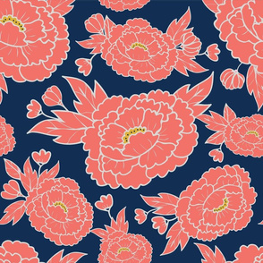 Coral Peonies on Navy Blue