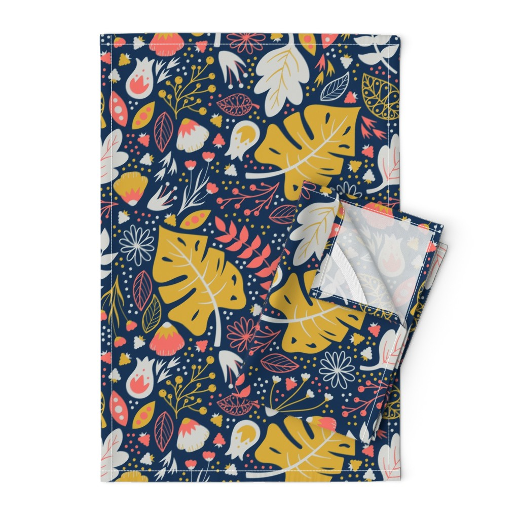 Orpington Tea Towels featuring Living Floral by tinyowlstudios