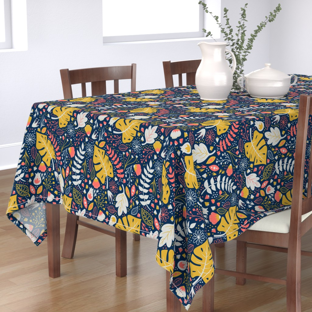 Bantam Rectangular Tablecloth featuring Living Floral by tinyowlstudios
