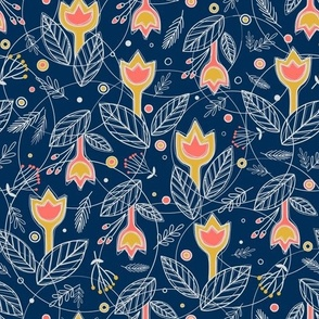 Coral with Gold Flowers on Navy Blue background