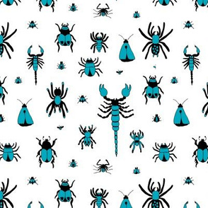 Little bugs and insects scorpion spiders and jungle beatle flies and mot boys blue