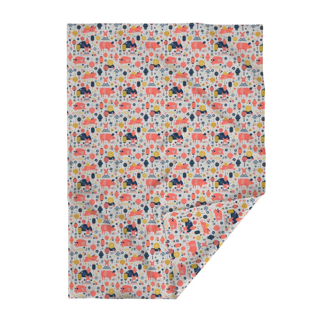 Lakenvelder Throw Blanket featuring Year of the Pig - Grey ground by rosalindmaroneyillustration