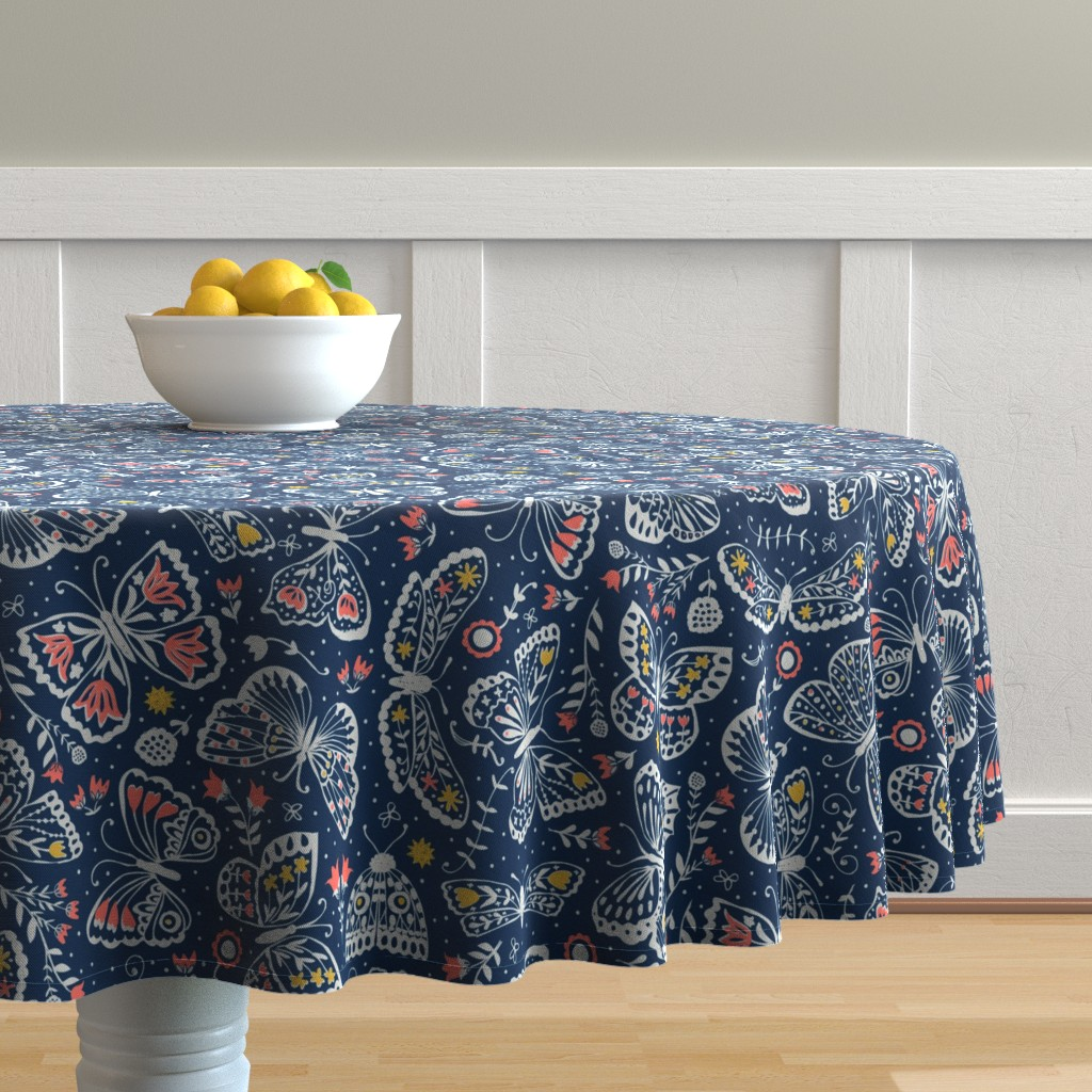 Malay Round Tablecloth featuring Late Night Lepidoptera  by studio_amelie