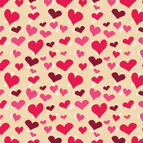 Hand-drawn Hearts on Tan Background