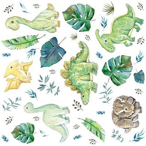 """8"""" Green and Blue Baby Dinosaurs White 90 degrees"""