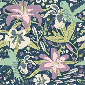 Hummingbird in Lilies