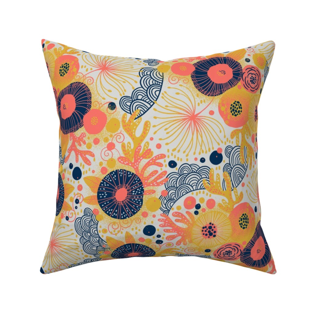 Catalan Throw Pillow featuring Coral Flow  by cynthiafrenette