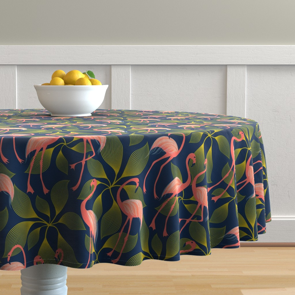 Malay Round Tablecloth featuring Fabulous 50's Flamingos by vo_aka_virginiao