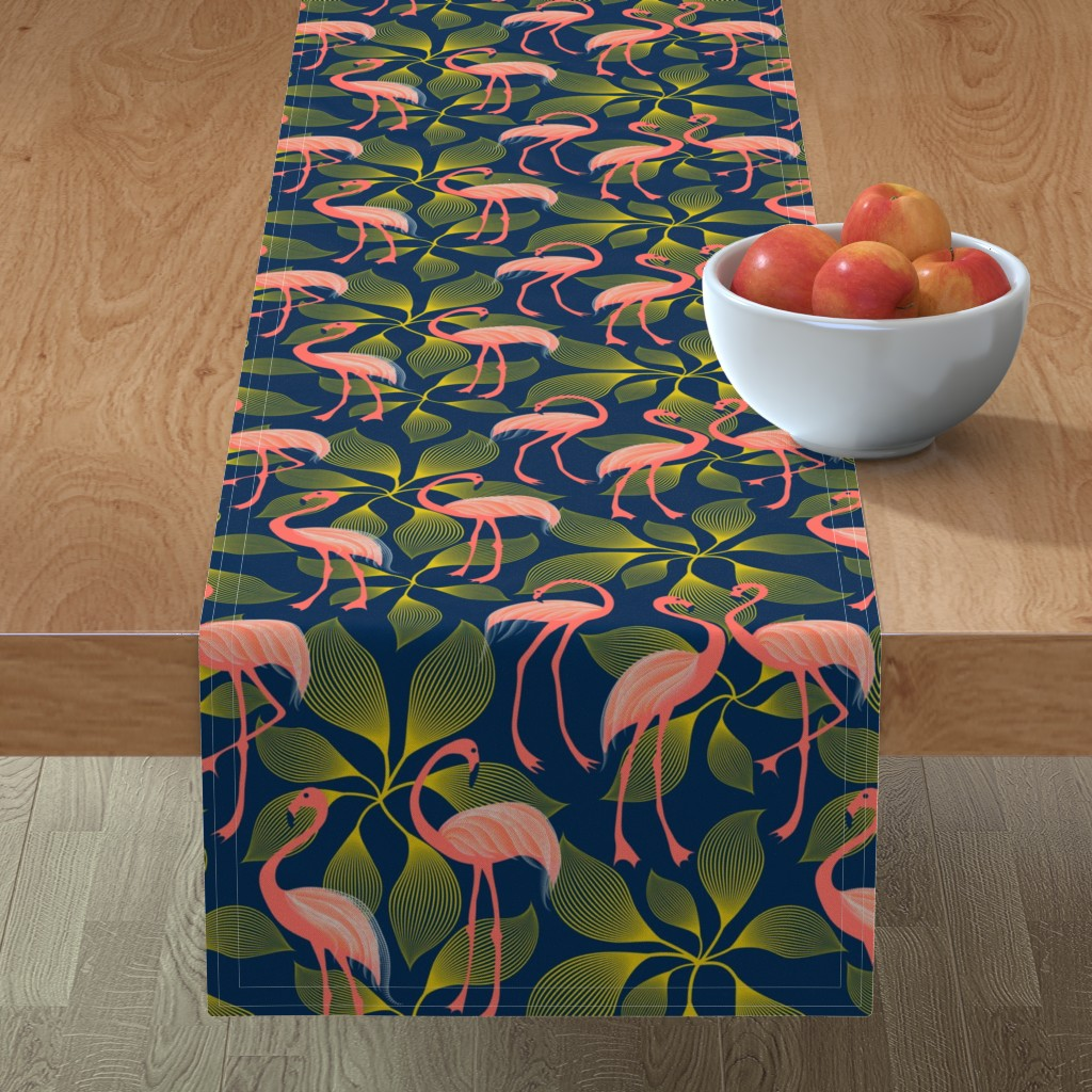 Minorca Table Runner featuring Fabulous 50's Flamingos by vo_aka_virginiao